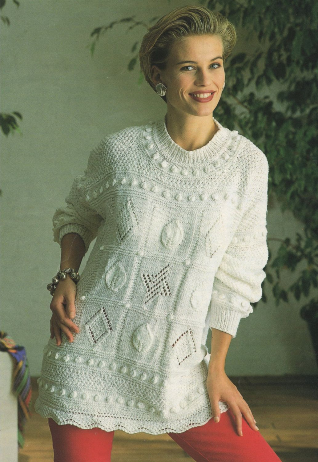 PDF Ladies Tunic Sweater Knitting Pattern : Womens 30 - 32, 34 ...
