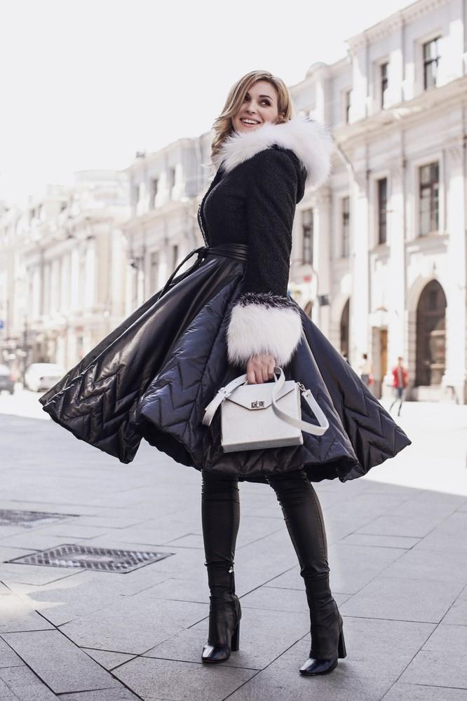 Купить приталенное женское пальто с юбкой зимнее Айна в ...