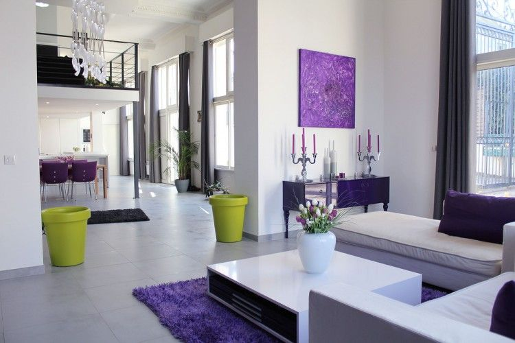 Convent Conversion In North Of Paris Purple Living Room Living Room Renovation Living Room Modern