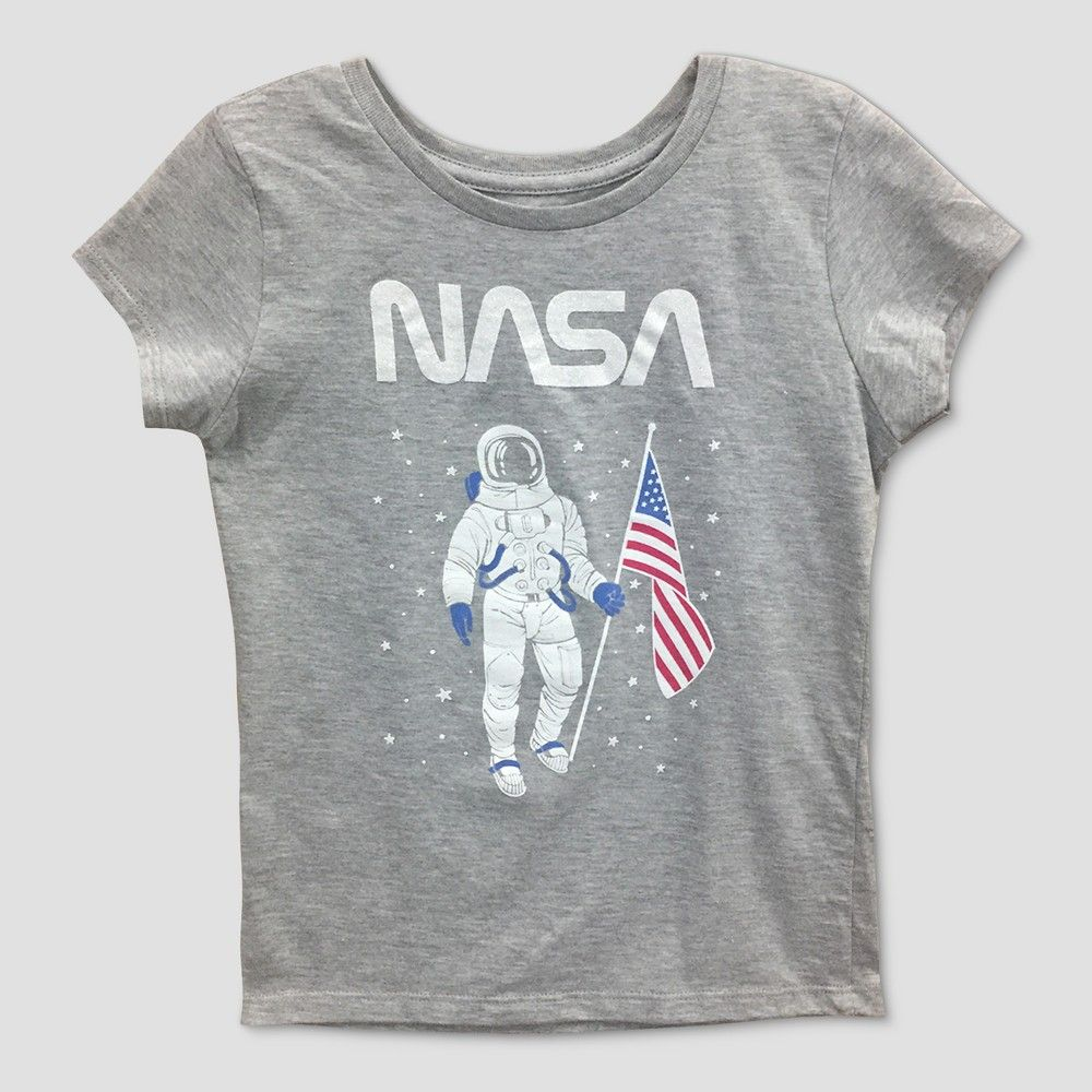 13ef468b4 Help her love for science flourish with this Nasa Short-Sleeve T-Shirt.  This girls graphic tee features a stylized Nasa logo above an astronaut  with the ...