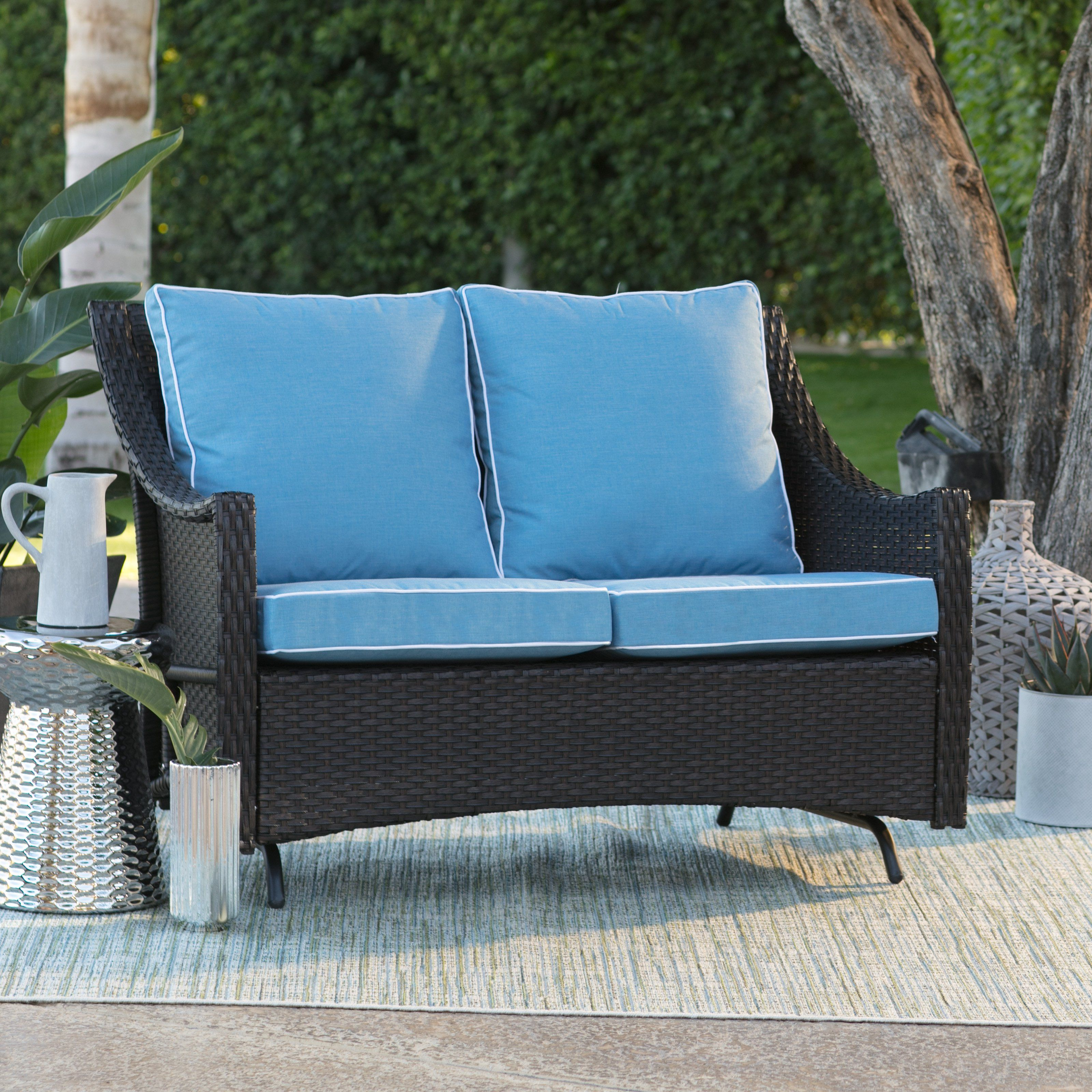 Find This Pin And More On Porch Belham Living Lindau All Weather Wicker Loveseat Glider With Cushion