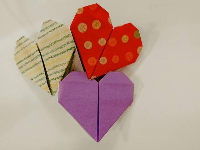 折り紙ハートの作り方かわいいメッセージカード便箋にも 折り紙