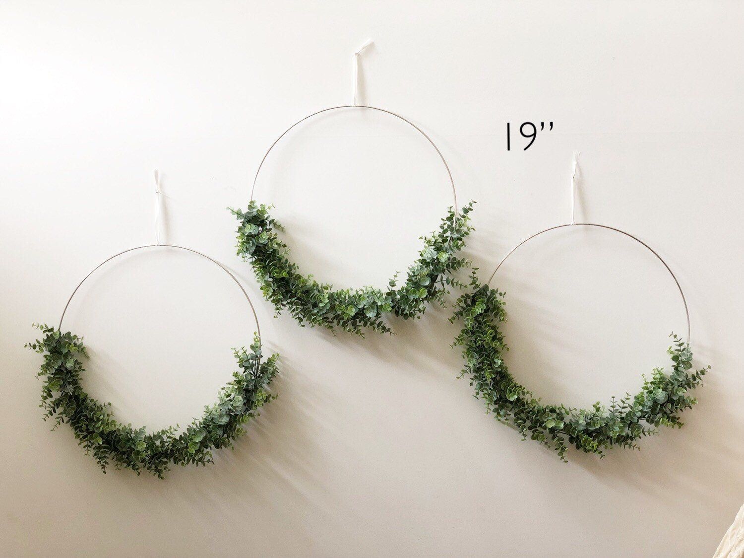"""Photo of 19 """"set with three large modern hoop earrings – set with three hoop earrings – large hoop wreath, artificial eucalyptus wreath, wreath in a modern style"""