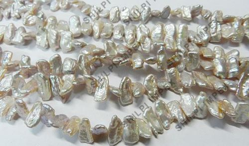"58.1GM 1PC 14"" Strand Silver Grey Freshwater Biwa Pearl 8x18mm Gemstone Beads #Shining Gems #Beads #NecklaceJewelry #BeadsJewelry #GemstoneJewelry #Gemstone #FacetedBeads #RoundBeads"