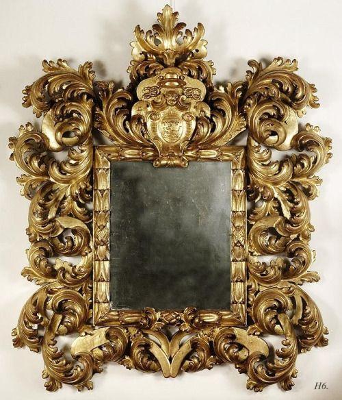 cdb4a6b4b18 hadrian6  Roman Barocco espejo. dorado de madera tallada. c.1650 ...