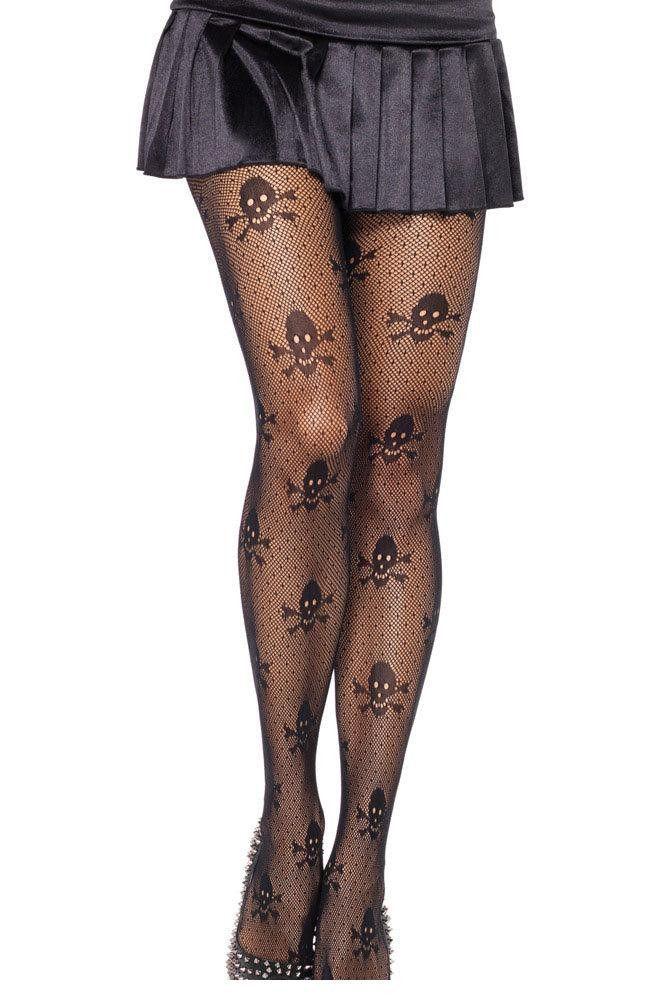 Pirate Fancy Dress Emo Gothic Halloween Skull /& Crossbone Black Tights