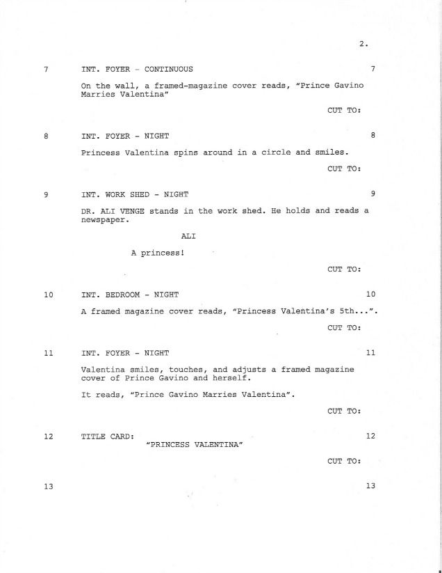 Page 1 of Royal Love Story From The Grave - Sample Shooting Script - sample script storyboard