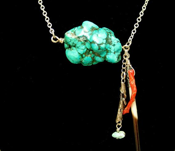 Native American Necklace Sterling Silver Turquoise by DesignsBloom, $59.99