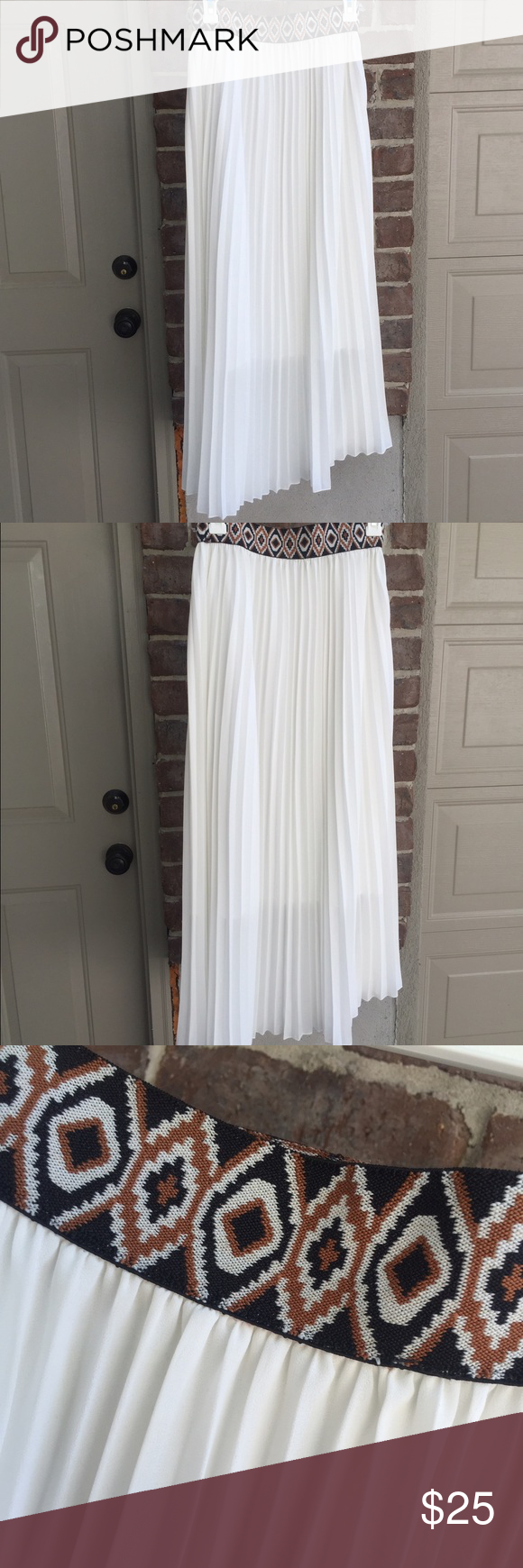 White maxi skirt. Slightly pleated skirt with black and bronze elastic waist band. Liner goes to about calf length. Doesn't say size in tag but fits like a medium but very elastic waist so could probably go up/down a size as well. Mint Green Skirts Maxi