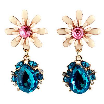 9,90EUR Ohrringe mit Blume und Strass blau