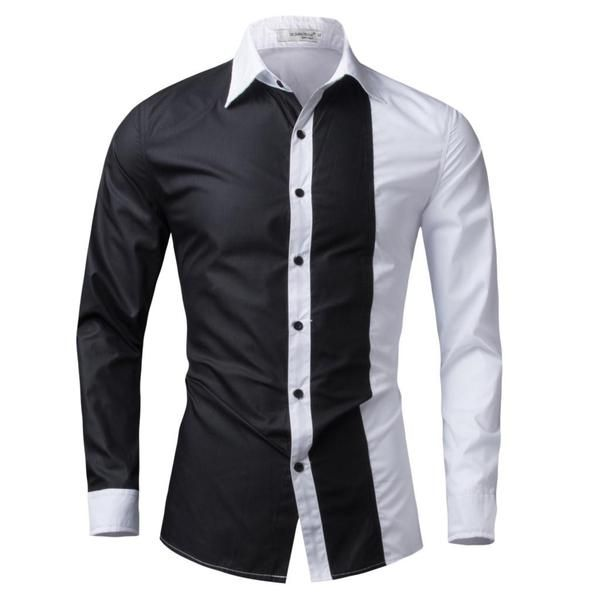 4b7f1113 Men's 2016 Long Sleeve Slim Fit Dual Color Casual/Dress Shirt - 4 Colo -  The Sorse