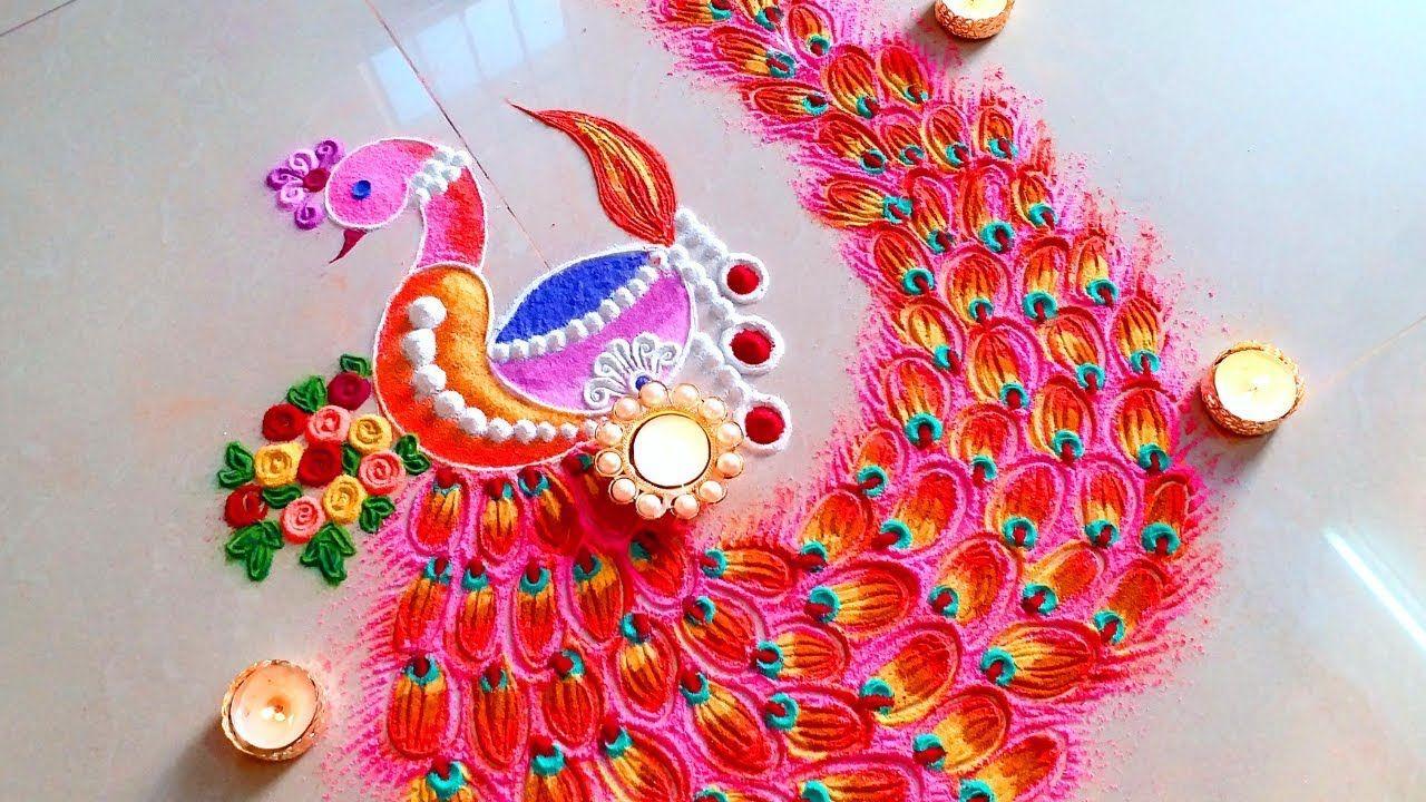 Diwali 2018 SPECIAL Peacock DIYA unique diwali rangoli