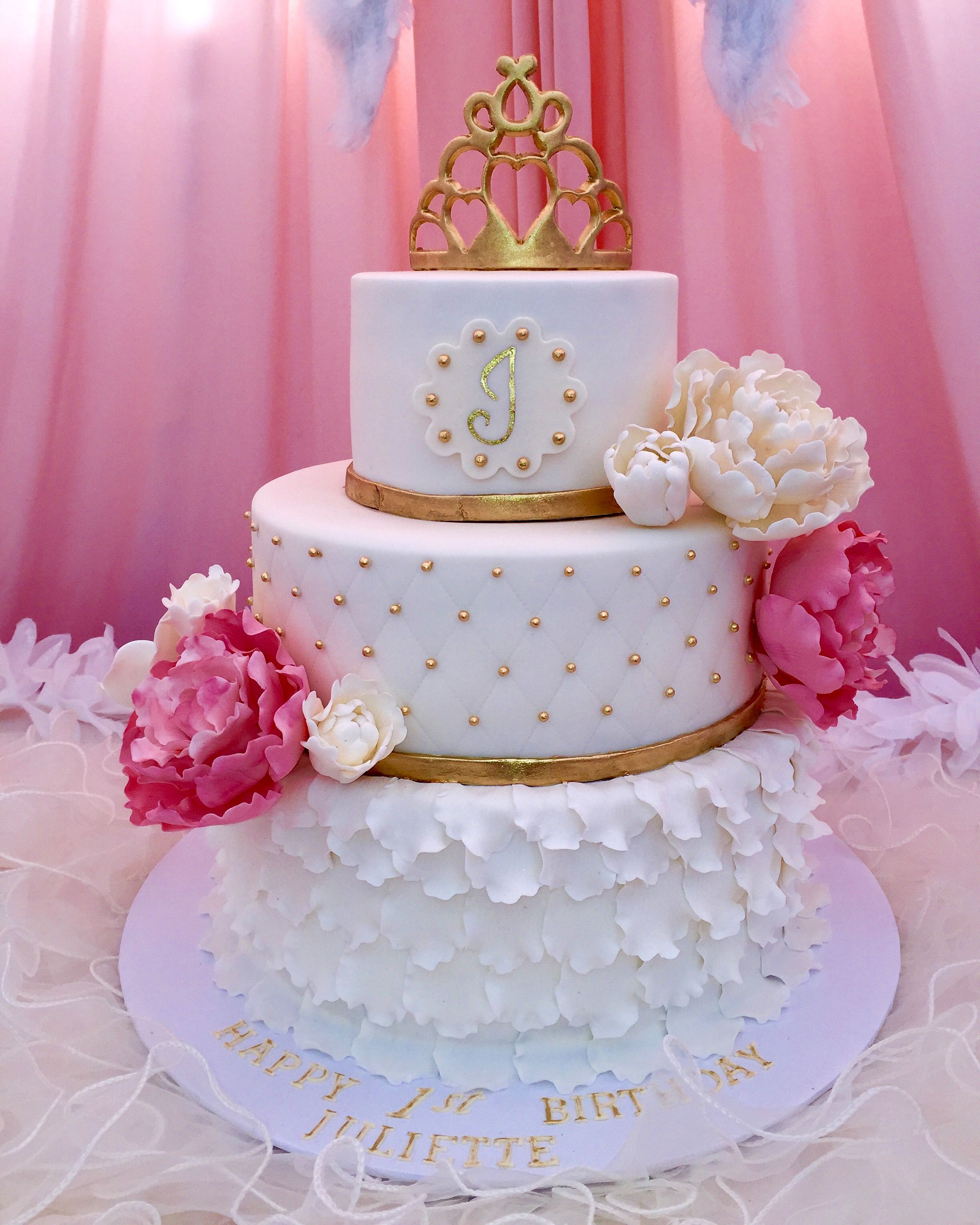 Made this Princess 3 tier cake with sugarpaste peonies and gold ...