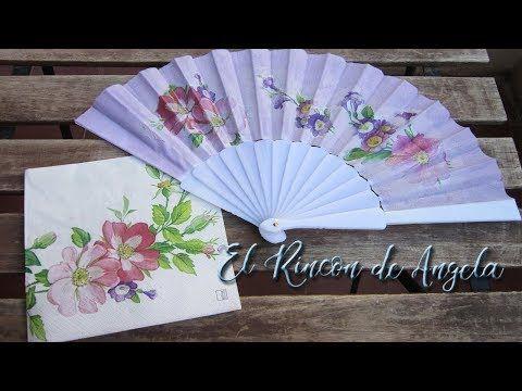 Decoupage sobre tela abanico de tela pintado y con decoupage diy manualidades youtube - Manualidades con papel pintado ...