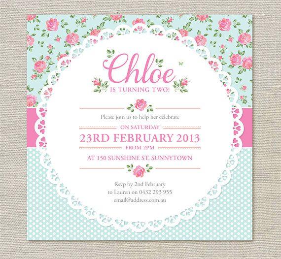 Shabby Chic BIrthday Invitations Printable Party Decoration
