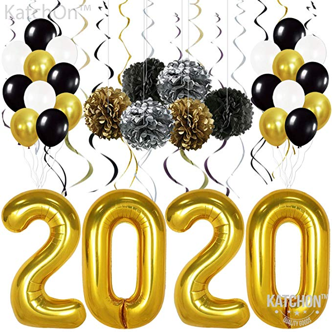 Amazon Com New Years Eve Party Supplies 2020 Balloons Gold Pack Of 49 Gold B New Year S Party Decorations Graduation Party Decor Graduation Party Supplies