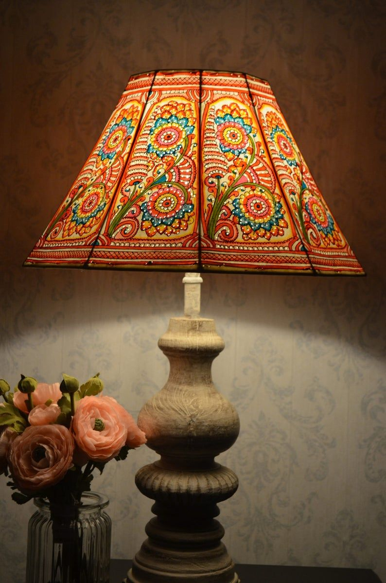 Large Floor Lamp Shade In Multi Colour Floral Pattern Etsy