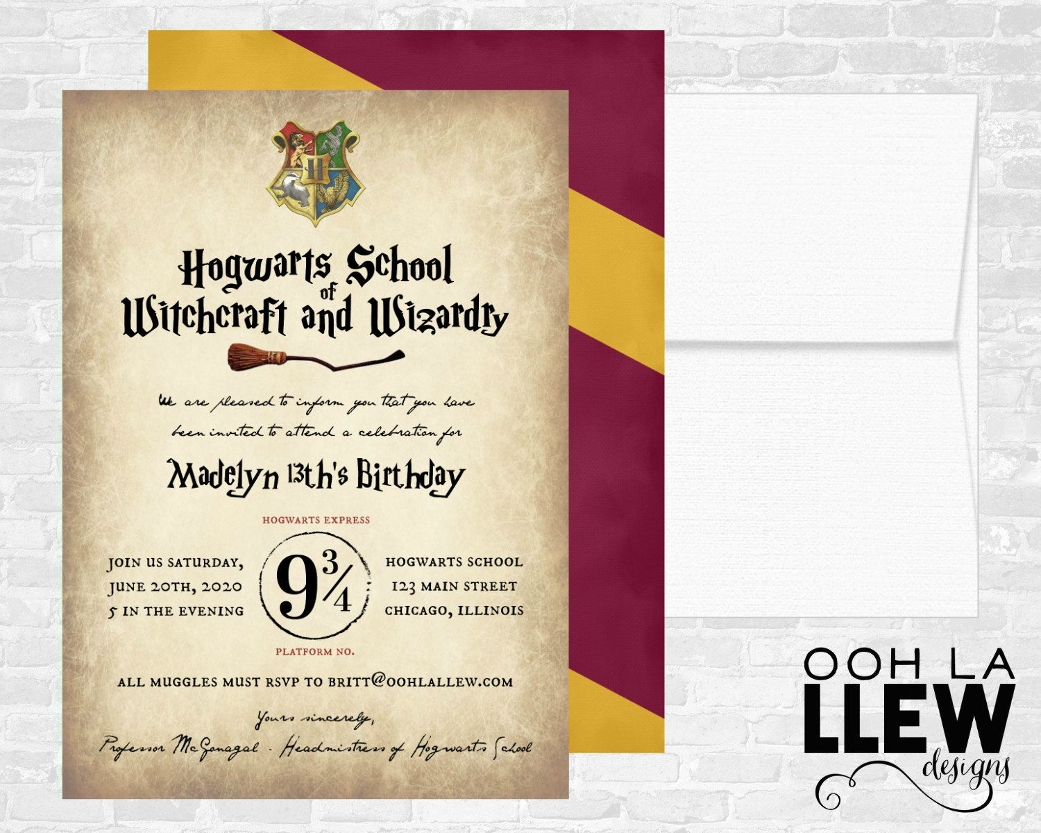 Harry Potter Birthday Party Invitation by OohLaLlew on Etsy   HARRY ...