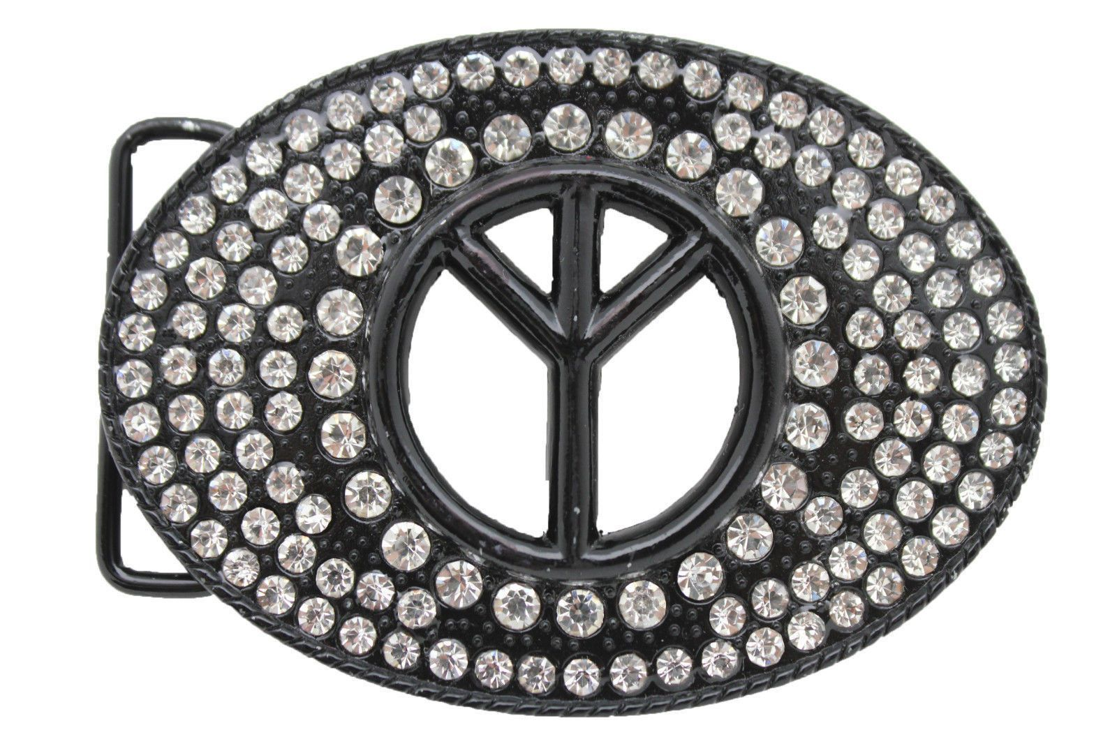 Silver Black Metal Hippie Peace Sign Freedom Oval Belt Buckle New Men Women Fashion Accessories Alwaystyle4you Chic Jewelry Unique Fashion Silver Rhinestone