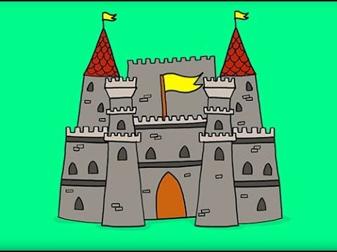 apprendre à dessiner un château fort how to draw a fortified