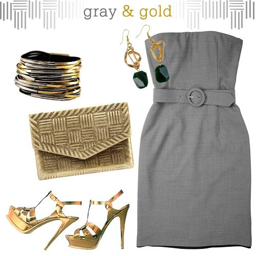 Gray + Gold = Unbeatable | Gold outfit, Gray dress, Grey and gold