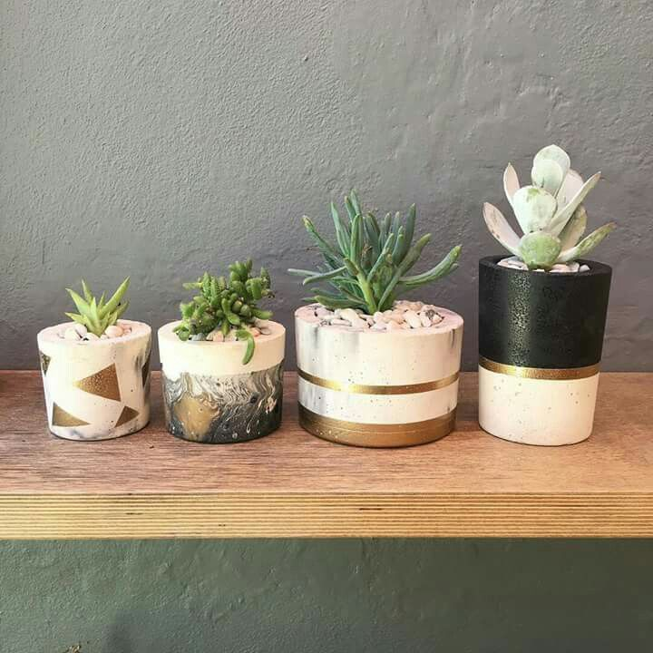 Ash&Lime concrete pots, gold and black accents.   Photo credit to Breidahl Blooms Perth, Western Australia