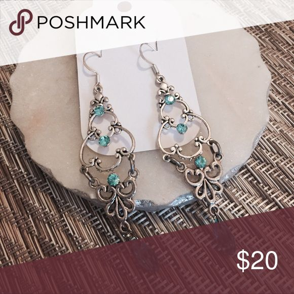 Selling this Teal chandelier earrings on Poshmark! My username is: saramilie. #shopmycloset #poshmark #fashion #shopping #style #forsale #Jewelry