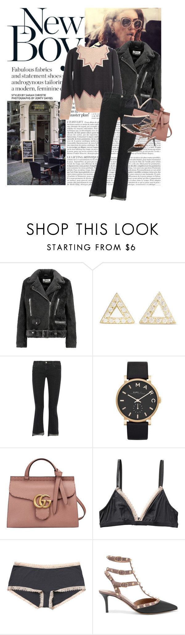 """""""Untitled #1786"""" by hellohanna ❤ liked on Polyvore featuring Acne Studios, Jennifer Meyer Jewelry, J Brand, Marc by Marc Jacobs, Gucci, Monki and Valentino"""