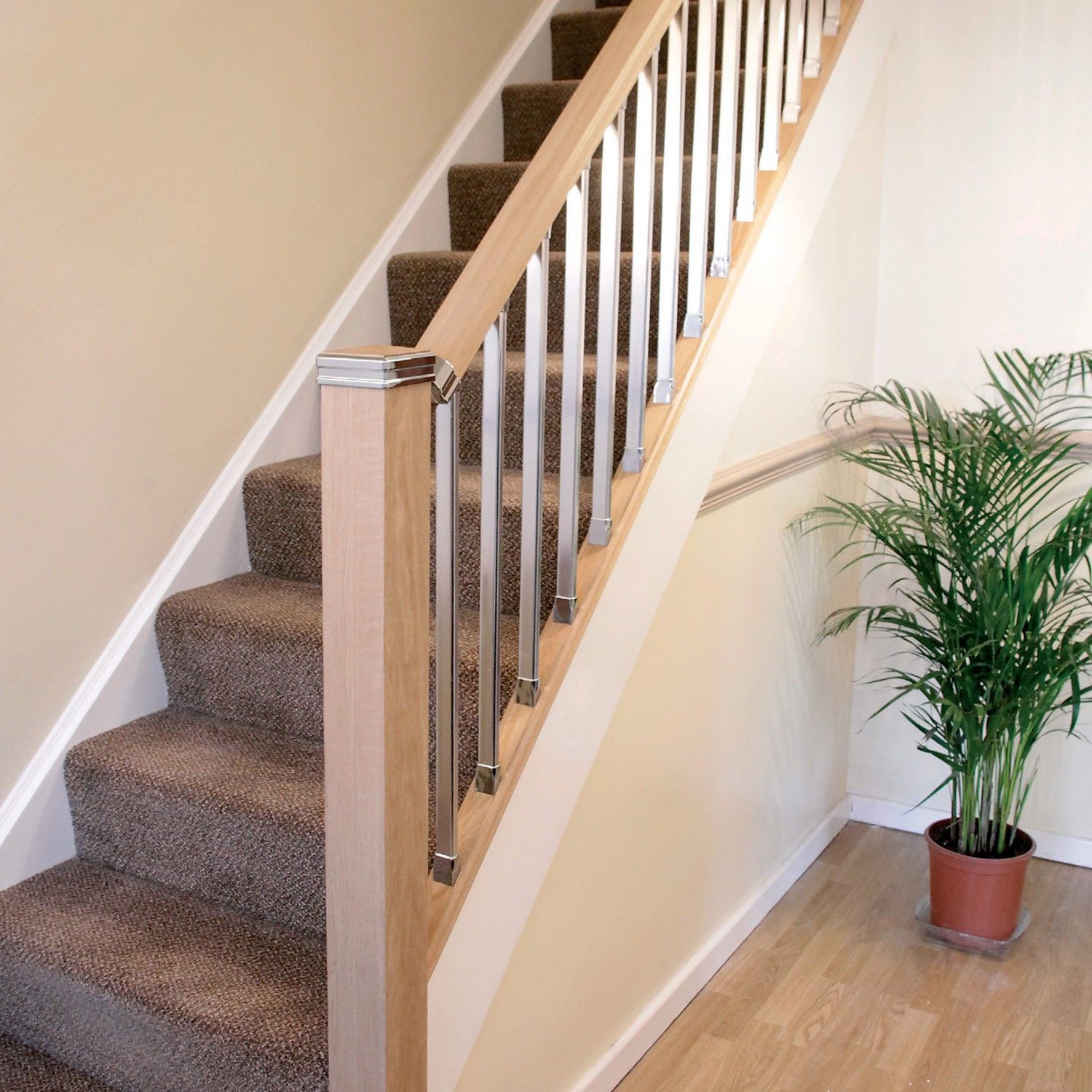 Wooden Stairs With Painted Stripes Updating Interior: Solution Chrome Rake Spindle In 2020