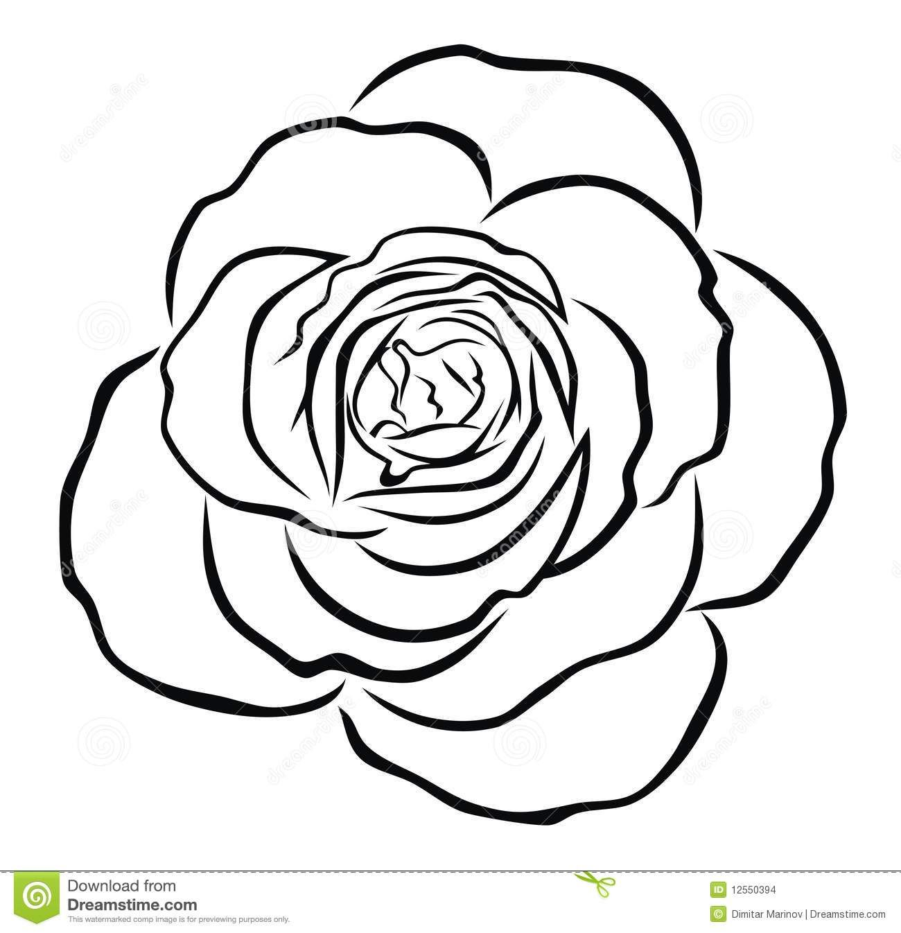 Pin By Enosart Com On Black And White Clipart Rose Outline Rose Coloring Pages Flower Drawing
