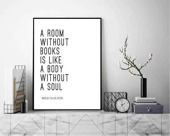 A Room Without Books Quote Marcus Tullius Cicero Wall Art Art