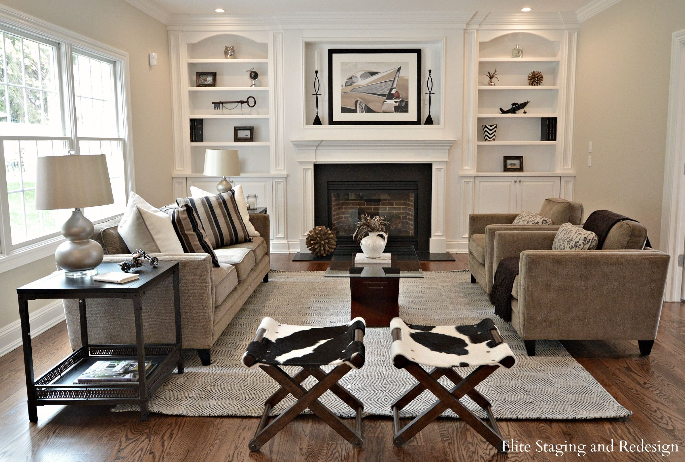 Traditional Living Room With Diamond Sofa Mid Century Slipper Chair,  Hardwood Floors, Cement Fireplace, Built In Bookshelf
