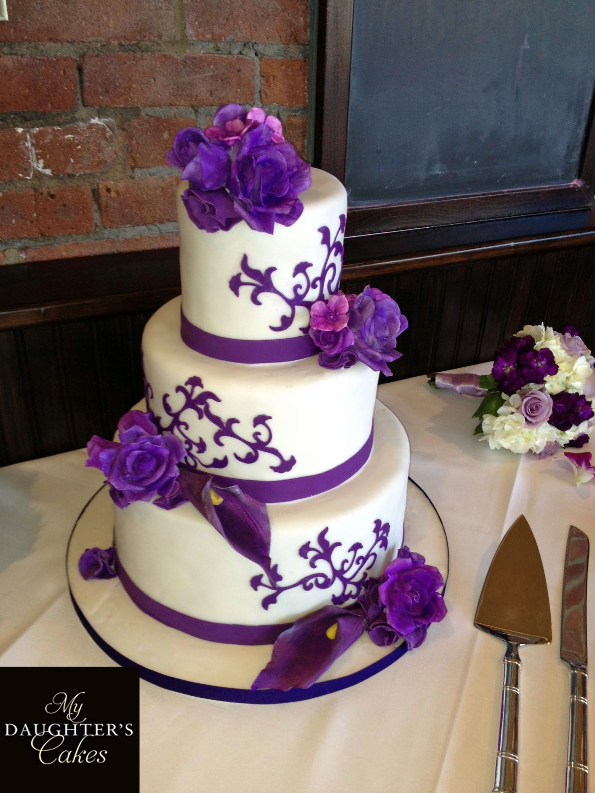 Purple White Wedding Cake From Njbakery Www Mydaughterscakes