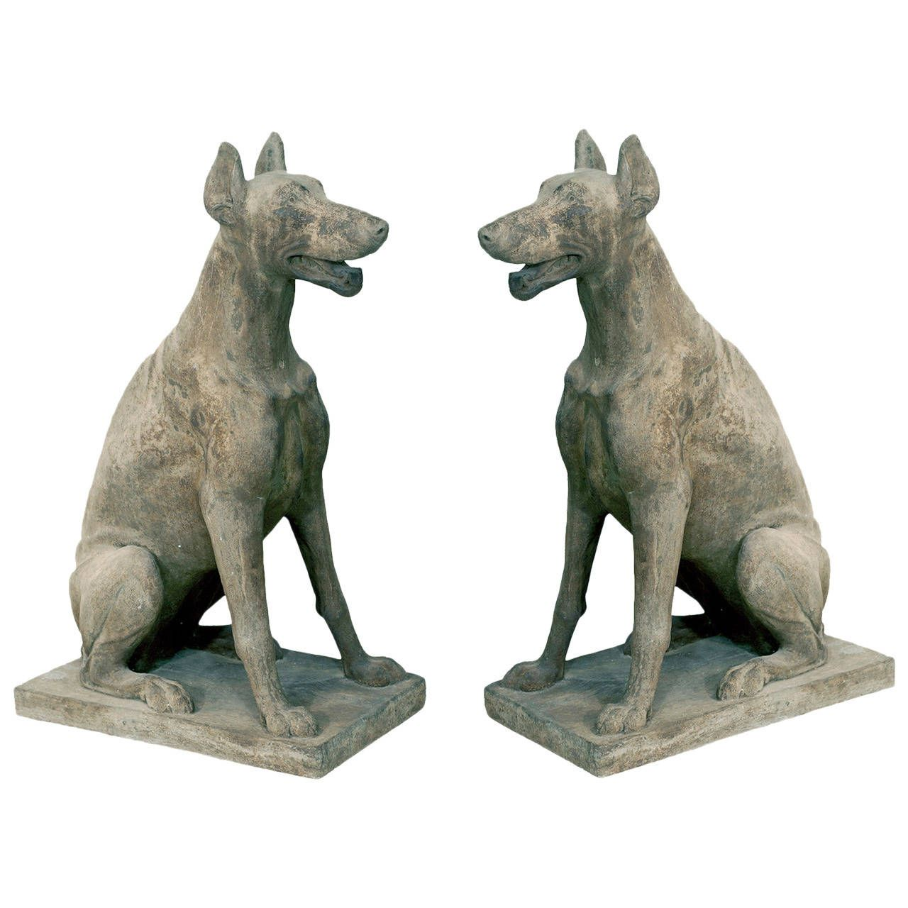 Antique Pair Of Cast Stone Garden Statuary Dogs