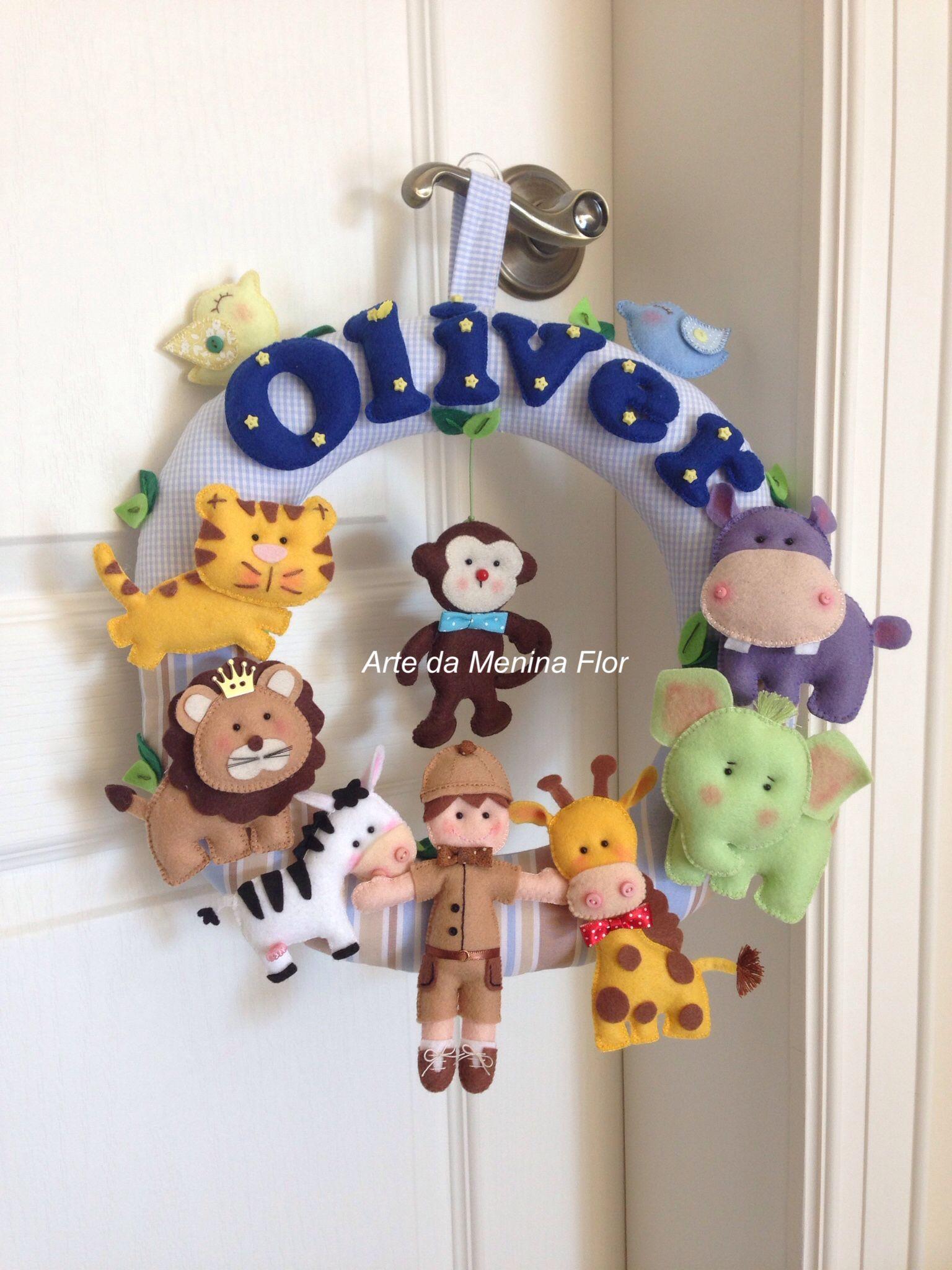 Guirlanda Safari para Oliver direto para Alemanha  Arte da Menina Flor - feltros