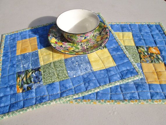 Spring Cottage Chic Patchwork Quilted Mug by MoonDanceTextiles