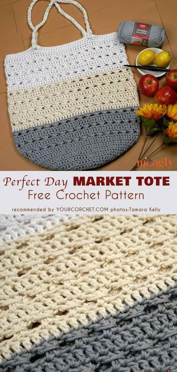 Perfect Day Market Tote Free Crochet Pattern | Pinterest | Bolsos ...