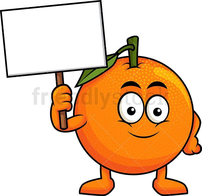 Orange Mascot Holding Blank Sign Cartoon Vector Clipart Friendlystock Fruit Cartoon Mascot Cartoons Vector