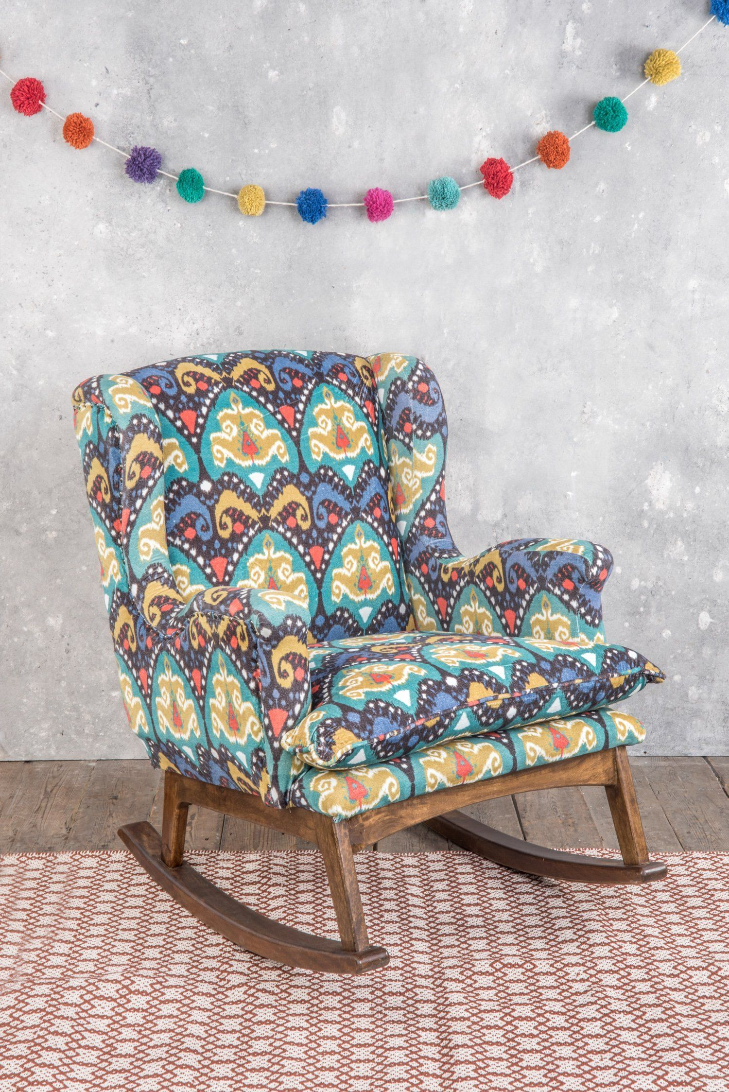 Patterned Velvet Rocking Chair Rockingchair Rocking Chair