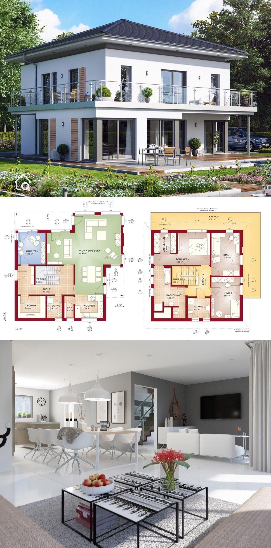 Einfamilienhaus Stadtvilla modern mit Walmdach Erker and XL B