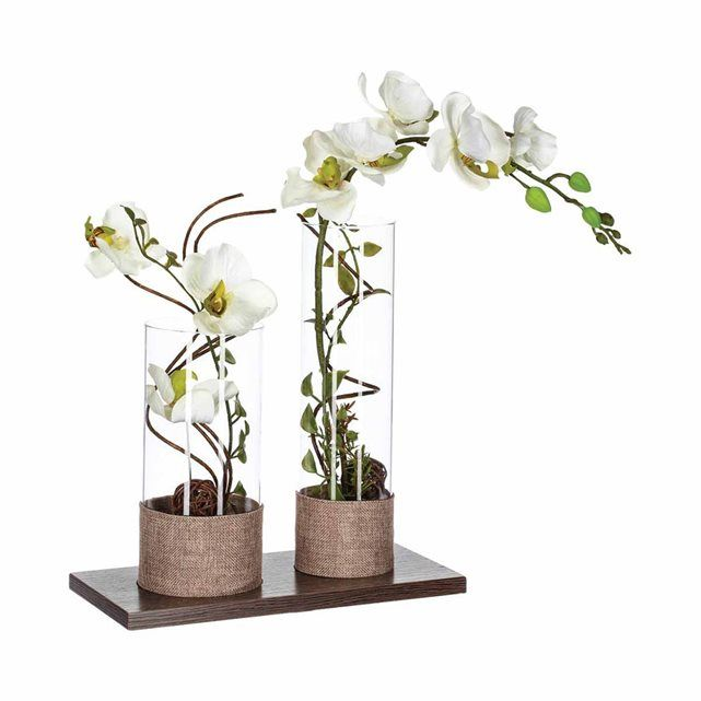 composition de fleurs artificielles orchid es h 45 cm. Black Bedroom Furniture Sets. Home Design Ideas