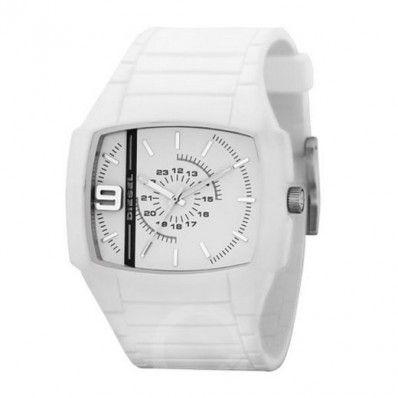 Diesel unisex horloge DZ1321 Dit Diesel horloge is gemaakt van een rubberen band en een gedeeltelijke rubberen kast. Het horloge heeft een roestvrijstalen achterdeksel. De diameter van de kast is 45mm. Deze DZ1321 is een echt zomerhorloge in zijn geheel witte kleur.  Diesel Only The Brave