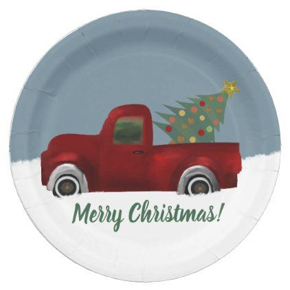 Red Vintage Retro Truck And Christmas Tree Paper Plate Zazzle Com Paper Plate Crafts Paper Plates Merry Christmas Diy