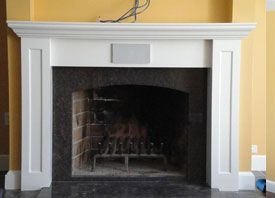 Fireplace Mantel with Built in speaker and recessed TV space ...