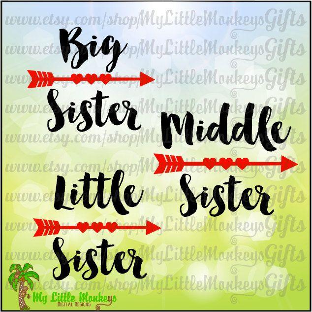 Big Sister Middler Sister Little Sister Heart Arrows Design Digital Clipart & Cut File Instant Download Jpeg Png SVG EPS DXF Formats - pinned by pin4etsy.com