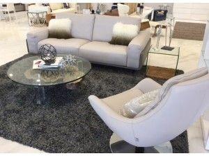 Venezia Italian Gray Leather Modern Sofa