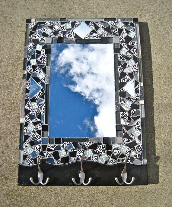 18x26 Monochrome mosaic mirror/coat rack by JustLookAtYourself, $165.00