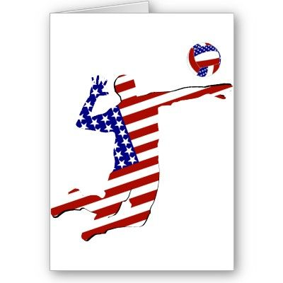 USA Volleyball Player Greeting Card by RedWhiteAndBlue1