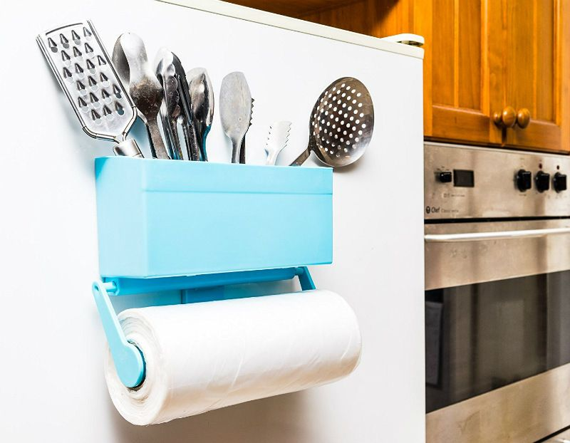 Magnetic Paper Towel Holder With Multipurpose Storage For The Refrigerator  ($15.95). Stick This