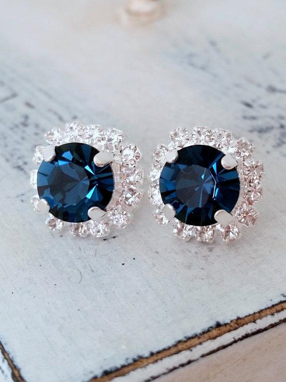 Navy Blue Swarovski Crystal Stud Earrings By Eldortinajewelry Wedding Something